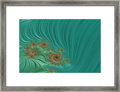 Turquoise Fractal 1 Framed Print by Bonnie Bruno