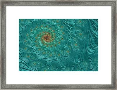 Turquoise Fractal3 Framed Print by Bonnie Bruno