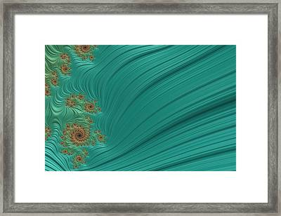 Turquoise Fractal4 Framed Print by Bonnie Bruno