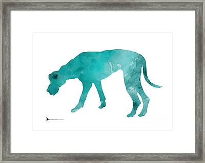 Turquoise Great Dane Watercolor Art Print Paitning Framed Print by Joanna Szmerdt