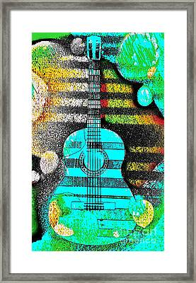 Turquoise Guitar By Jasna Gopic Framed Print by Jasna Gopic