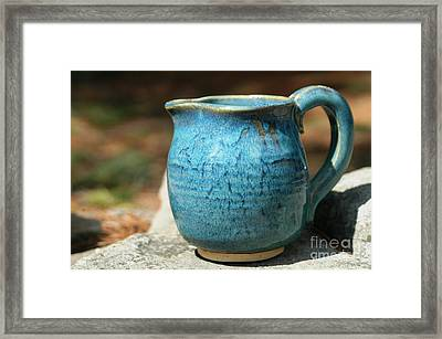 Turquoise Handmade Pitcher Framed Print by Amie Turrill Owens