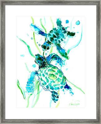 Turquoise Indigo Sea Turtles Framed Print by Suren Nersisyan
