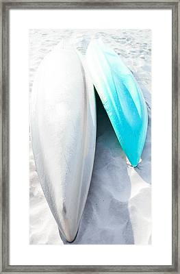 Turquoise Kayak Framed Print by Shelby  Young