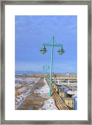 Turquoise Lampposts Framed Print
