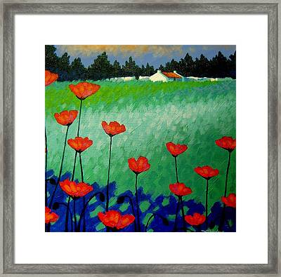 Turquoise Meadow Framed Print by John  Nolan
