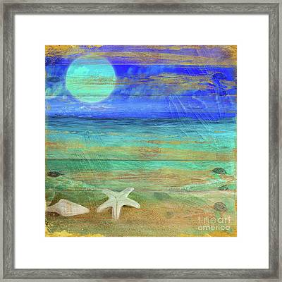 Turquoise Moon Framed Print by Mindy Sommers