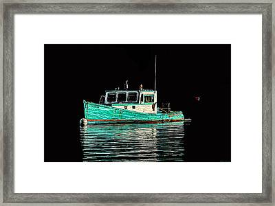 Turquoise Lobster Boat At Mooring Framed Print