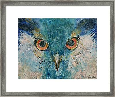Turquoise Owl Framed Print by Michael Creese