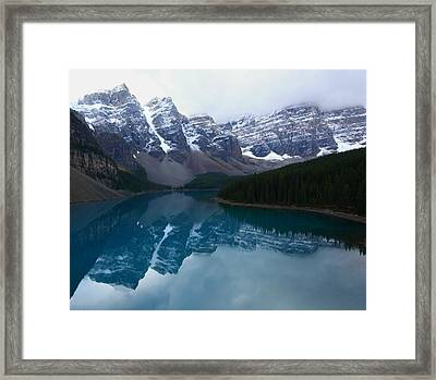 Turquoise Reflection At Moraine Lake Framed Print