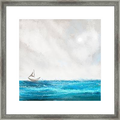 Turquoise Sailing - Moonlight Sailing Framed Print by Lourry Legarde