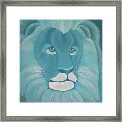 Turquoise Lion Framed Print