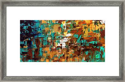 Framed Print featuring the painting Turquoise Scent by Carmen Guedez