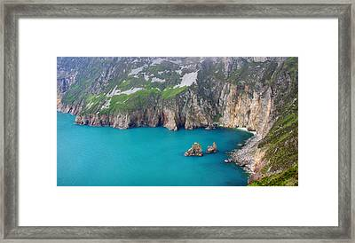 turquoise sea at Slieve League cliffs Ireland Framed Print by Pierre Leclerc Photography