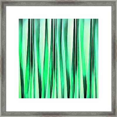 Turquoise Serenity Stripy Pattern Framed Print