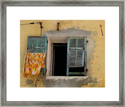 Turquoise Shuttered Window Framed Print by Lainie Wrightson
