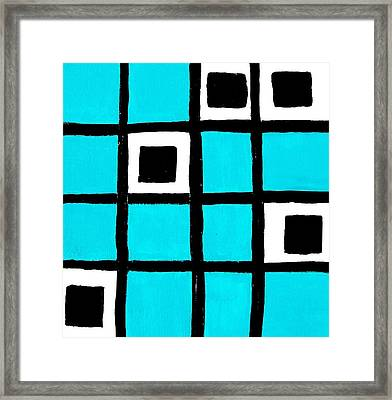 Turquoise Squares Framed Print by Marsha Heiken
