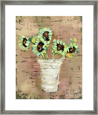 Turquoise Sunflowers Framed Print