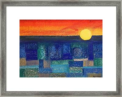 Framed Print featuring the painting Turquoise Sunset by Norma Duch