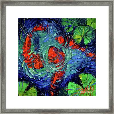 Turquoise Swirls Framed Print by Mona Edulesco