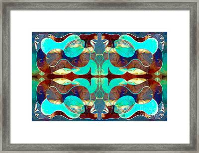 Turquoise Transitions Abstract Macro Transformations By Omashte Framed Print by Omaste Witkowski