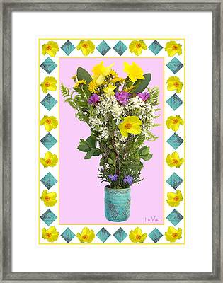 Framed Print featuring the digital art Turquoise Vase With Spring Bouquet by Lise Winne