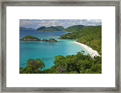 Turquoise Water At Trunk Bay, St. John Framed Print by Michael Melford