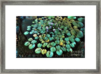 Turquoise Waterlilies 2 Framed Print