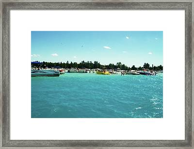 Turquoise Waters At The Torch Lake Sandbar Framed Print