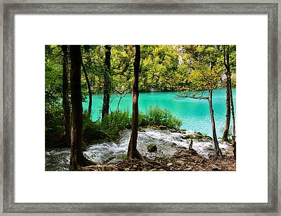Turquoise Waters Of Milanovac Lake Framed Print by Two Small Potatoes