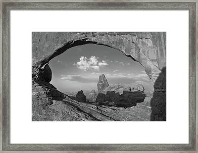 Turret Arch And North Window - Arches National Park - Black White Framed Print