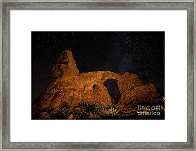 Framed Print featuring the photograph Turret Arch And The Milky Way - Utah by Gary Whitton