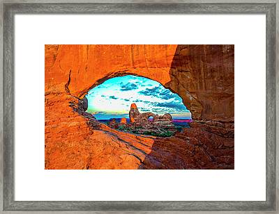 Framed Print featuring the photograph Turret Arch Through Window by Norman Hall