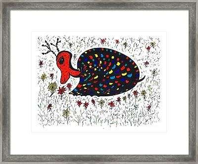 Snurtle Snail Turtle And Flowers Framed Print