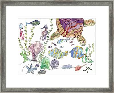 Turtle And Sea Life Framed Print