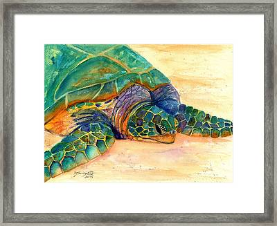 Framed Print featuring the painting Turtle At Poipu Beach 7 by Marionette Taboniar