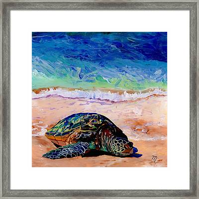 Framed Print featuring the painting Turtle At Poipu Beach 9 by Marionette Taboniar