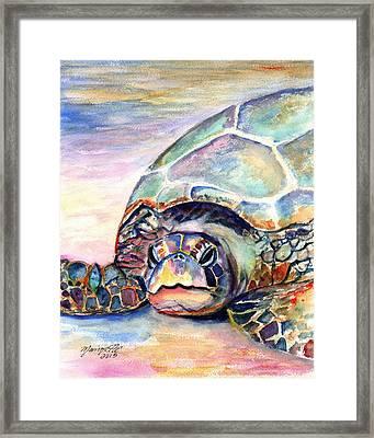 Turtle At Poipu Beach Framed Print