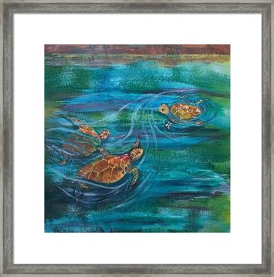 Turtle Ballet Framed Print by Bonnie Rabert