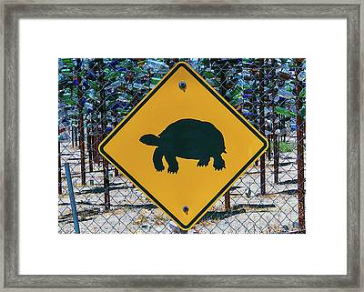 Turtle Crossing Sign Framed Print by Garry Gay
