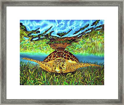 Turtle Grass Framed Print by Daniel Jean-Baptiste