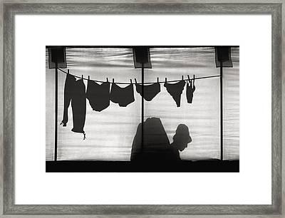 Turtle Lady Sunbathing In Her Backyard Framed Print by Yvette Depaepe
