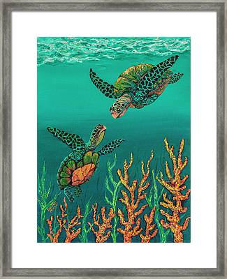 Framed Print featuring the painting Turtle Love by Darice Machel McGuire