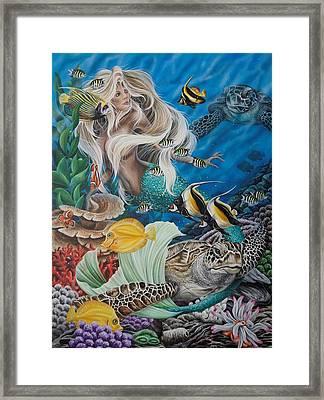 Turtle Mermaid Framed Print