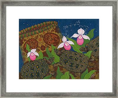 Framed Print featuring the painting Turtle - Mihkinahk by Chholing Taha