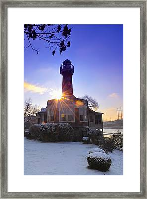 Turtle Rock Light House At Sunrise Framed Print by Bill Cannon