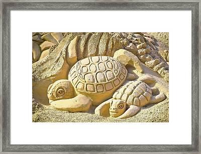 Turtle Sand Castle Sculpture On The Beach 999 Framed Print