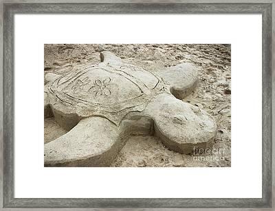 Turtle Time Sand Sculpture Framed Print by Colleen Kammerer