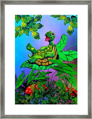 Turtle Trampoline Framed Print by Hanne Lore Koehler