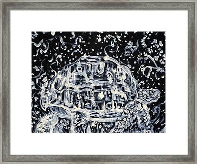 Framed Print featuring the painting Turtle Walking Under A Starry Sky by Fabrizio Cassetta